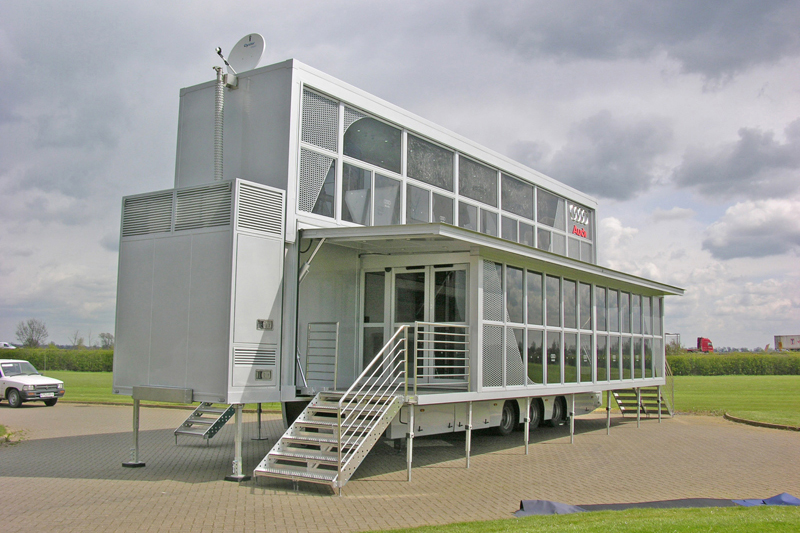 Double deck hospitality trailers for Audi
